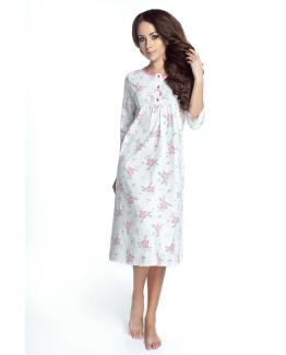 modelka w bawelnianej koszulce nocnej w kwiaty